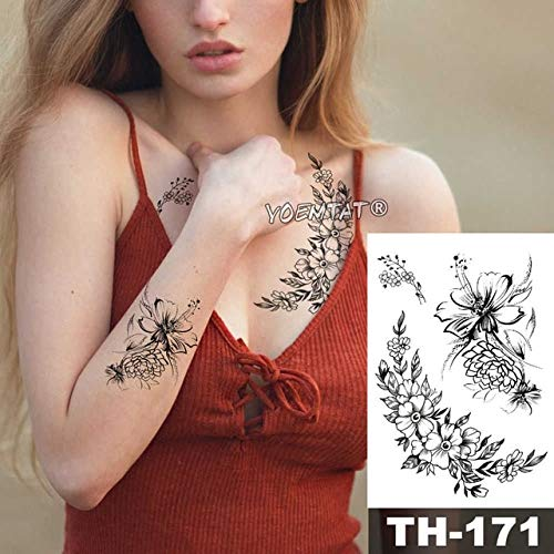 HXMAN 5pcs Geometric Flower Rose Eye Leaves Impermeabile Temporaneo Tatuaggio Adesivo Peony Nero Tatuaggi Corpo Corpo Arte Braccio Falso Tatoo Th-350 25-TH171