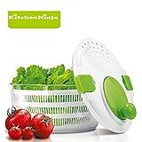 KitchenNinja Salatschleuder mit Kurbel,Großes Fassungsvermögen mit Ablaufsieb für das Wasser und einer Salatschüssel 4 Liter