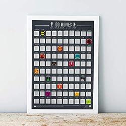 Gift Republic 100películas-Scratch Off Cubo Lista Póster, Negro