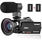 "Kenuo 4K Camcorder, 48MP Portable Ultra-HD 60FPS WiFi Digital Video Camera 3.0"" Touch Screen IR Night Vision Camcorder With External Microphone And Wide Angle Lens (Camera)"