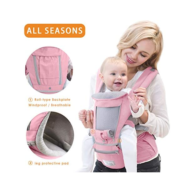SONARIN 3 in 1 Multifunction Hipseat Baby Carrier,Front and Back,100% Cotton,Ergonomic,Easy Mom,Adapted to Your Child's Growing, 100% Guarantee and Free DELIVERY,Ideal Gift(Pink) SONARIN Applicable age and Weight:0-36 months of baby, the maximum load:36KG, and adjustable the waist size can be up to 47.2 inches (about 120 cm). Material:designers carefully selected soft and delicate Cotton fabric. Resistant to wash, do not fade, ensure the comfort and breathability, Inner pad: EPP Foam,high strength,safe and no deformation,to the baby comfortable and safe experience. Description:Scientific 35°, the baby naturally fits the mother's body, safe and comfortable.Patented design of the auxiliary spine micro-C structure and leg opening design, natural M-type sitting.H-type bridge belt, effectively fixed shoulder strap position, to prevent shoulder straps fall, large buckle, intimate design, make your baby more secure. 3