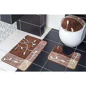 3 Teilig Badset Badgarnitur Badematten Badteppich Stand WC Braun N92 Beige  Borneo II