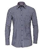 Casa Moda - Comfort Fit - Gepeachtes Langarm Hemd kariert mit Kent-Kragen (483016800), Größe:L, Farbe:Blau (100)