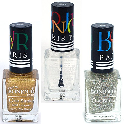 Coat Me Bonjour Paris True Color Nail Polish - Gold / Top Coat / Silver, Pack of 3 (0.90 Oz)