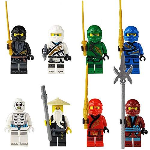 Bausteine, 8 Ninja-Puppen, Waffen, Speerstöcke, Halbmond, Schädel, Geister, Kinder, Bausteine   zusammenbauen, (Kinder Schädel Ninja Kostüm)