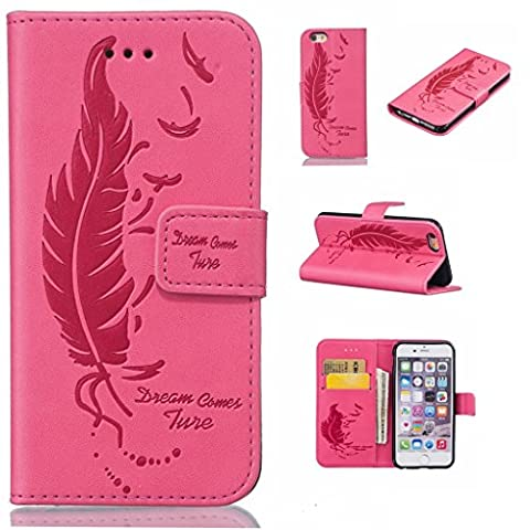 Uming® Embossing Print Pattern Colorful Holster Cover Case ( Dual Pressure feather birds ( Rose 2) - for IPhone 5S 5 5G SE IPhone5S IPhoneSE ) Artificial-leather Flip with Bracket Stander Holder Credit Card Slot Wallet Hasp Magnet Button Shell Protective Mobile Cellphone Cover