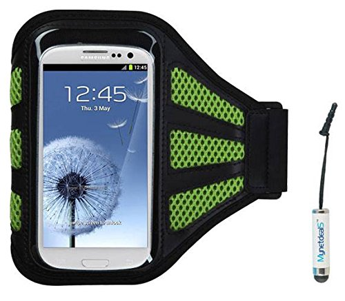 Premium Sport custodia da braccio per iPhone 5, iPhone 5 C, iPhone 5S, iPod Touch (5th Generation), iPhone 4S/4, iPod Touch (4th Generation), iPhone 3 GS/3G - nero/verde (con verde Mess