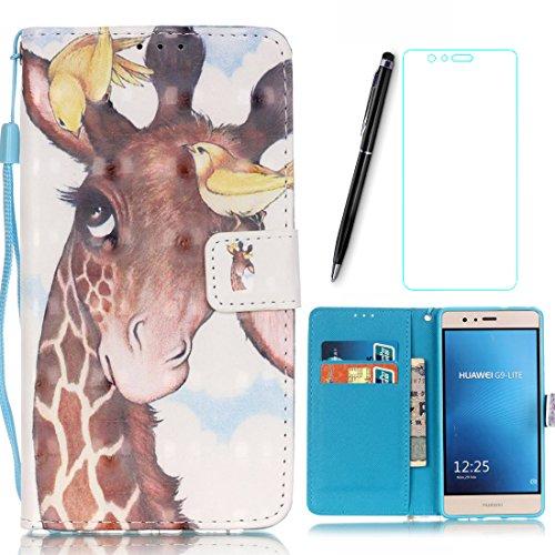 Preisvergleich Produktbild Lotuslnn Schutzhülle für iPod Touch 5 / 6 Hülle, Bunte Zeichnung Flip Wallet Stil Leder Tasche iPod Touch 5th / 6th Handyhülle-Giraffe, Weiß