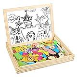 Peradix Juguete de Madera Pizarra Blanca Tablero Magnéticos Educativos Cara Doble con Caballete Puzzle para Niños Infantil