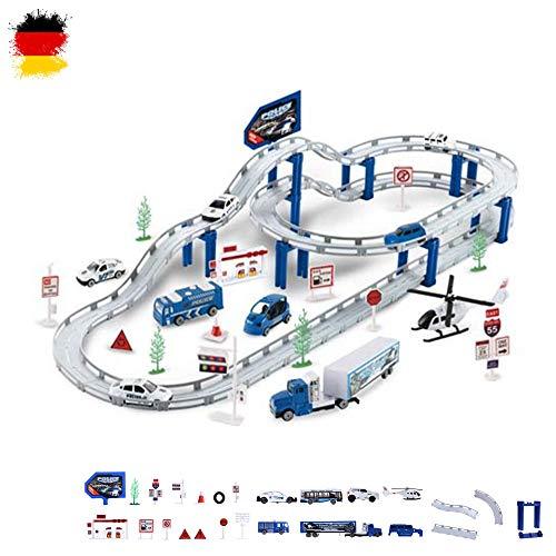 HSP Himoto Polizeistation mit selbstfahrendem Fahrzeug, DIY zusammensteckbare Strecke, Rennbahn Tracks Race Car Spielzeug, Komplett-Set