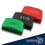 Original Diamant-Handschleifpad, Schleifschwamm 3er Spar Pack, Körnung 50 + 100 + 200 für Natursteine, Kunststeine, Marmor, Granit, Glas, Keramik