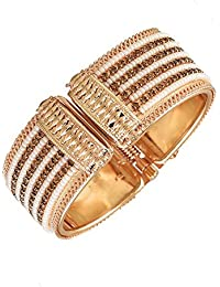 Zeneme Antique Style Pearl Gold Plated Kada/ Bangle Jewellery For Women / Girls
