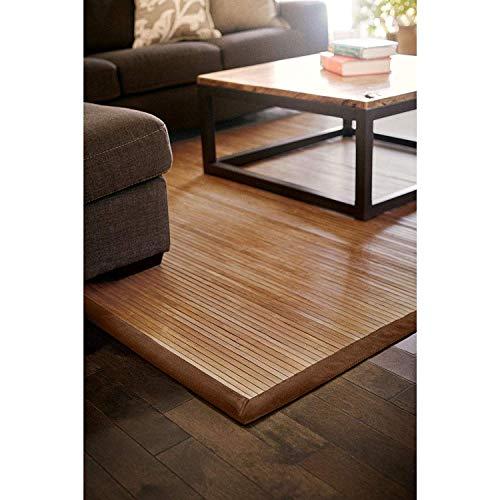 DE-COmmerce Bambusteppich Classic 200x300cm 17mm Stege breite Bordüre massives Bambus Bordürenteppich nachhaltig und ökologisch