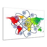 Globus Kugel Ball Erde Welt Email Symbol Bunt Leinwand Poster Druck Bild rv0311 120x90