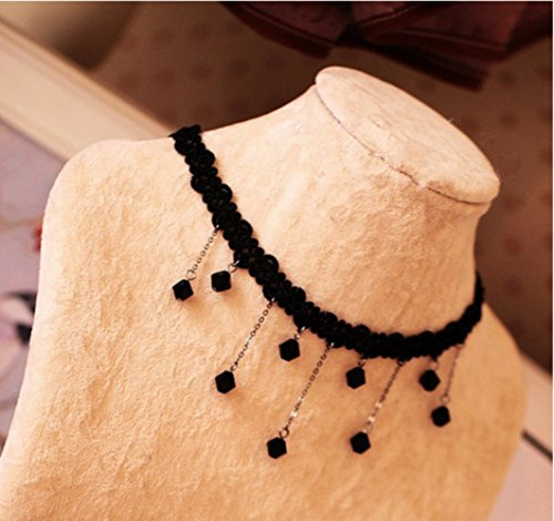SwirlColor Vintage Style Black Lace Collana a catena Con Le Decorazioni Gocce D'acqua Beads Halloween Party