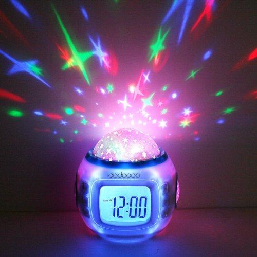 Musik Wecker LED Digital Wecker für Kinder mit Sternenhimmel Projektion Nachtlicht und Farbwechsel Thermometer