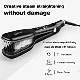 Jewelscart Steam Hair Straightening Brush Double Plate Fast Detangling Straighter Comb (Black)