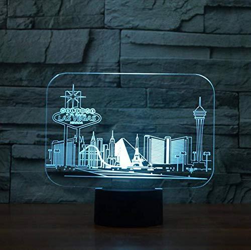 ern Las Vegas Gebäude Tischlampe Schlafzimmer Atmosphäre Schlaf Beleuchtung Usb Decor Kinder Geschenke Nachtlicht ()