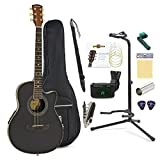 Roundback Acoustic Guitar Complete Player Pack by Gear4music Black