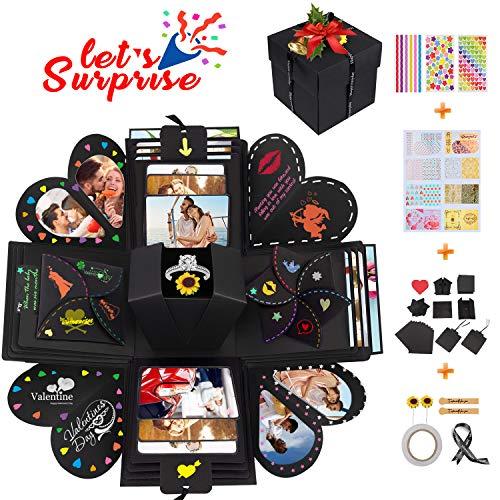 Qhui Kreative Explosionsbox, DIY Überraschungsbox, Personalisierte Geschenkbox Fotoalbum, Geschenk Jahrestag Valentinstag Hochzeit Muttertag Geburtstag Weihnachten, für Frauen Beste Freundin Ihn