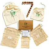ecocasa Obst- und Gemüsebeutel Einkaufstaschen mit Brot- und Nussbeutel aus Baumwolle - plastikfrei - wiederverwendbares 7er Set 1xS, 2xM, 2XL, 2X Kordelzugbeutel | INKLUSIVE Erntekalender etc.ebook