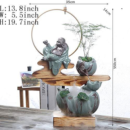 Statue artigianato decorazione,fontana da tavolo ornamenti dell'acqua umidificatore di casa creativa regali creativi-maitreya 19.7inch