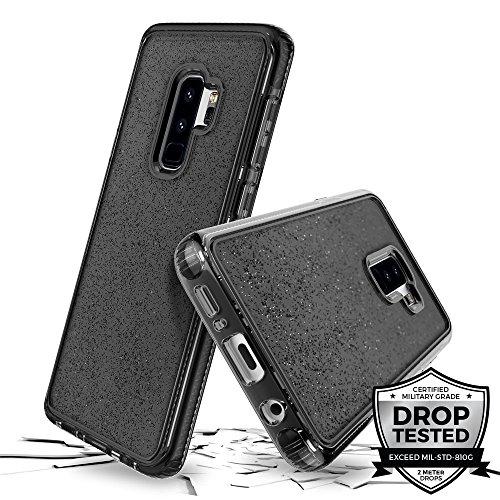 Prodigee [Superstar for Samsung Galaxy S9 Plus case, Grau schwarz Clear klar transparent 2 Meter Militär Drop Test Zertifiziert Schutz dünn Hülle Stück dünner dünn funkeln glänzen Glitzern Flakes