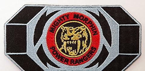 Power Rangers Embroidered Iron on Patch/gelb Ranger Morpher Gürtelschnalle Badge Aufnäher Säbelzahn Tiger Kostüm Fancy Kleid Motiv (Mighty Morphin White Ranger Kostüm)
