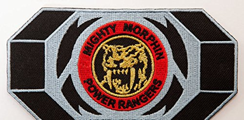 Power Rangers Embroidered Iron on Patch/gelb Ranger Morpher Gürtelschnalle Badge Aufnäher Säbelzahn Tiger Kostüm Fancy Kleid Motiv (Mighty Power Yellow Ranger Kostüm Morphin Rangers)