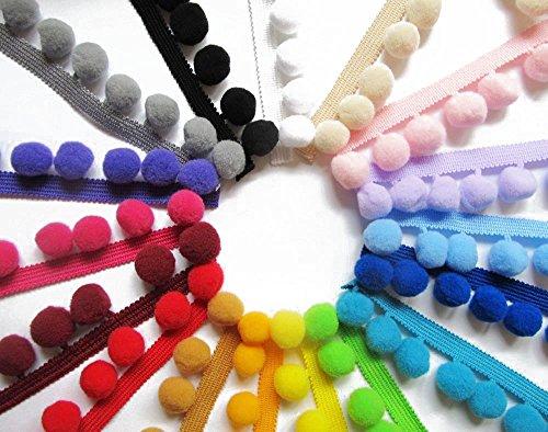 recortar-costura-craft-pompones-por-metro-10-mm-bobble-fringe-pompon-calidad-approx-10mm-rosso
