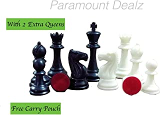 Paramount Dealz Plastic 4Inches King Height Fide Standard Professional Tournament Staunton Chess Pieces with 2 Extra Queens, Carry Pouch