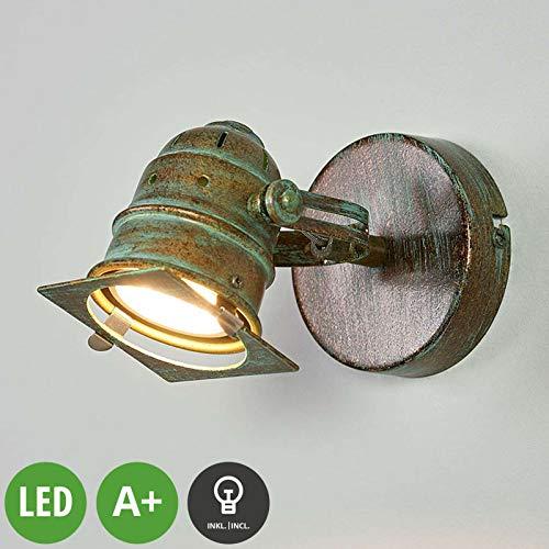 Bronze-metall-wandleuchte (Lampenwelt LED Wandleuchte, Wandlampe Innen 'Janek' (Retro, Vintage, Antik) in Bronze aus Metall u.a. für Wohnzimmer & Esszimmer (1 flammig, GU10, A+, inkl. Leuchtmittel) - Wandstrahler)