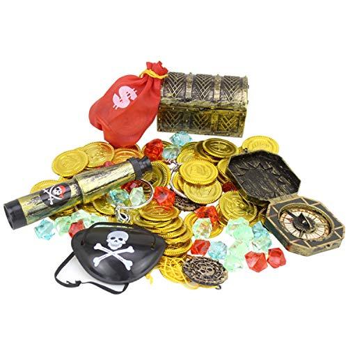 60 STÜCKE Piraten Spielzeug Piraten Party Supplies Piraten Kostüm Enthält Goldmünzen Kompass Schatztruhe Box Teleskope Edelsteine Piraten Augenklappen Ohrringe Geldsack Medaillons Cosplay Kit (Schatztruhe Piraten Kostüm)