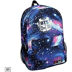 Kinbelle - Mochila de lona con estampado de cielo estrellado, motivo del grupo de música BTS azul azul