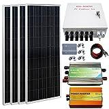 Automotive Battery Charger Best Deals - ECO-WORTHY 400W Pannello Solare Off Grid Sistema: 4pcs 100W Pannello Solare + 1KW Inverter onda sinusoidale pura + 30a controller di carica + PV combinatori Box