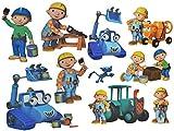 Unbekannt 10 TLG. Set: Wandtattoo / Sticker + Fensterbilder -  Bob der Baumeister  - Wandsticker Aufkleber für Kinderzimmer - Jungen Baustelle / Baustellenfahrzeuge -..