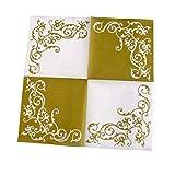 Servietten Pomp Gold-Weiß Tischdeko Hochzeitsdeko Servietten falten 50Stk 40x40cm - 2