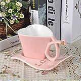 22222Tazza Tazza di caffè A Forma di Cuore di Amore Creativo con Il Vestito della Tazza di caffè del Cucchiaio del Piatto per Gli Amanti del Regalo Stabilito A della Tazza di tè di Stile Inglese