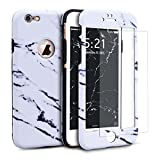 GrandEver for iPhone 6 Plus / 6S Plus Marble Case White Hybrid Heavy Duty Shockproof 360 Degree Full Protective Case Dual Layer Hard PC + Soft Silicone Cover with [Tempered Glass Screen Protector]