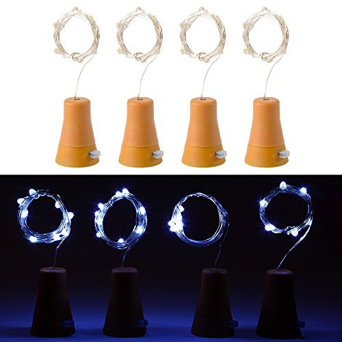 4pcs 10 luces de la barra de la corcho-forma de la botella de vino de la luz de hadas del alambre de cobre accionado solar del LED para la decoración de la Navidad de la boda del partido de DIY (blanco fresco)
