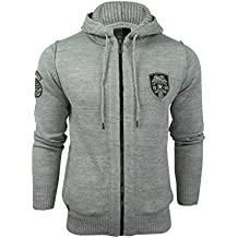 Dissident Mens Hoodie Knit Cardigan Jumper by Izy' Zip Through