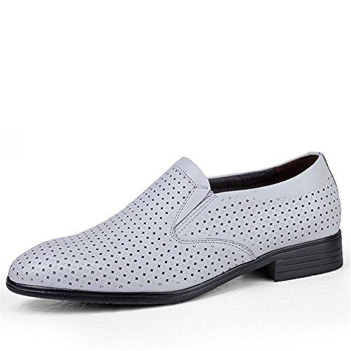 ailishabroy Plain Herren Derby Schlüpfen Atmungsaktiv Schuhe Herren Sommer Schwarz Business Mokassins (42 EU, Weiß)