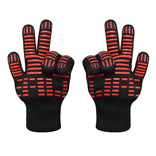 TTLIFE 2Sets Grillhandschuhe Extrem hitzebeständig BBQ Handschutz Handschuhe Ofenhandschuhe premium Qualität Kochhandschuhe (Grillhandschuhe)