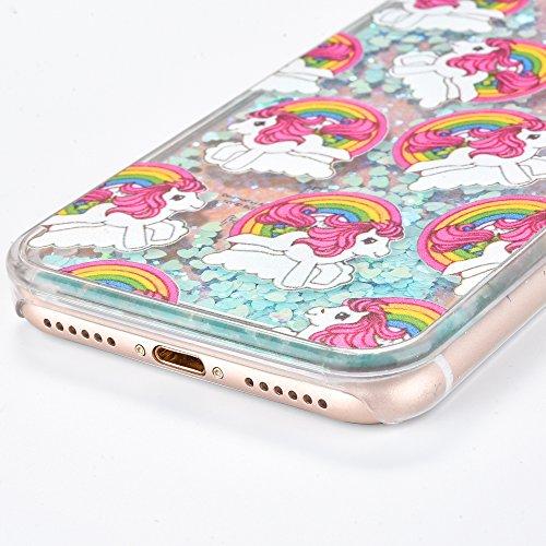 Voguecase Pour Apple iPhone 7 Plus 5,5, Luxe Flowing Bling Glitter Sparkles Quicksand et les étoiles Hard Case étui Housse Etui(Amour Quicksand-Pink sable-fleurs de cerisier) de Gratuit stylet l'écran Amour Quicksand-Bleu sable-Cheval volant 01