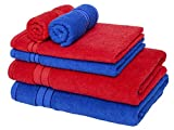 #1: Homely 100% Cotton 6 Piece Towel Set, 2 Bath Towel 140 X 70 Cm, 2 Hand Towel 40 X 60 Cm, 2 Face Towel 30 X 30 Cm, 400 Gsm, Red And Blue