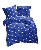 2 tlg. Renforcé Bettwäsche Sterne Muster - Ganzjahres & 4-Jahreszeiten Bettwäsche-Set - 135x200 + 80x80 cm - Blau