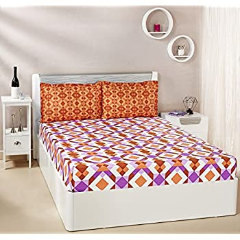 Amazon Brand - Solimo Kaleidoscope Dreams 144 TC 100% Cotton 1 Double Bedsheet with 2 Pillow Covers, Brown and Purple