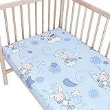 Les agneaux bleu Lot de 2 draps housse Pati'Chou pour lit bébé 70x140 cm