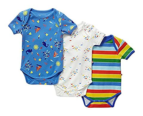 Piccalilly Organic Cotton Multicoloured Baby Boys Nautical Print Baby Body