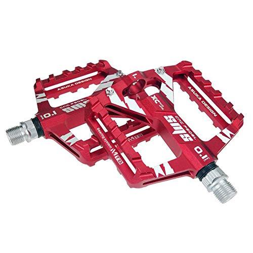 Upanbike Aluminium-Pedale mit 1,43 cm (9/16 Zoll) Dreifach-Lagerung und breiterer Plattform, geeignet für Mountenbikes, Rennräder, City-Fahrräder, rot